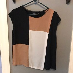 Simply Vera black tan and white patchwork blouse